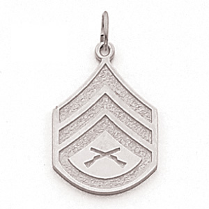 Sterling Silver 7/8in US Marine Corps Staff Sergeant Pendant