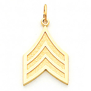 3/4in US Army Sgt Pendant - 14k Yellow Gold