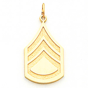 10kt Yellow Gold 1in US Army Staff Sergeant Pendant