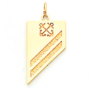 1in US Navy SA Pendant - 14k Yellow Gold