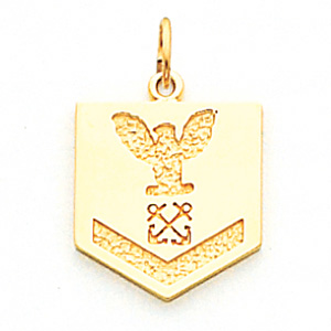 5/8in US Navy PO3 Pendant - 10k Yellow Gold