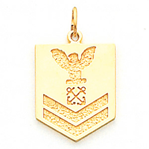 3/4in US Navy PO2 Pendant - 14k Yellow Gold