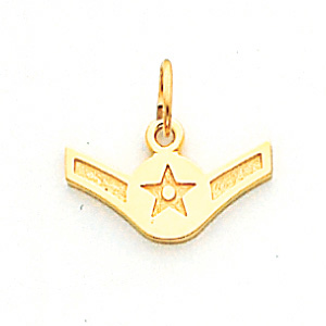 5/16in US Air Force Airman Pendant - 14k Yellow Gold