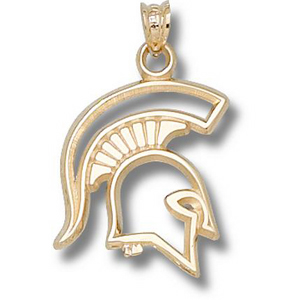 14kt Yellow Gold 3/4in Michigan State Spartan Pendant