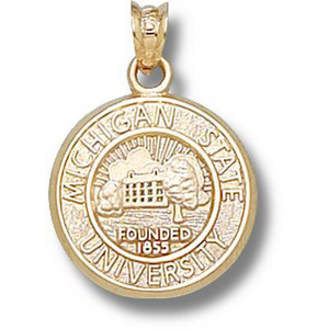 14kt Yellow Gold 5/8in Michigan State University Seal Pendant