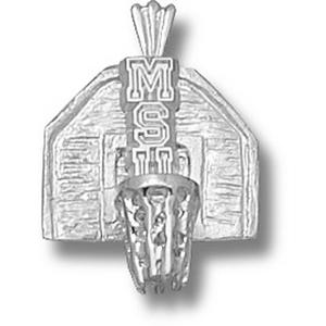 Michigan State Spartans 5/8in Sterling Silver Backboard Pendant