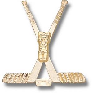 Michigan State 1 1/8in 10k Hockey Pendant