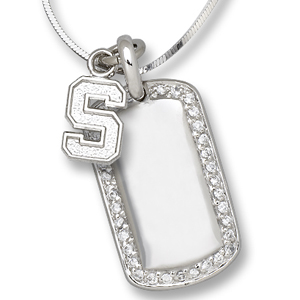 Sterling Silver Michigan State University Mini Dog Tag Necklace