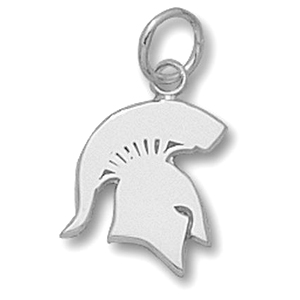 Sterling Silver 1/2in Michigan State Spartans Solid Pendant