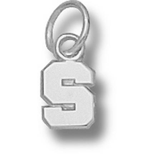 Michigan State Spartans 1/4in Sterling Silver S Pendant