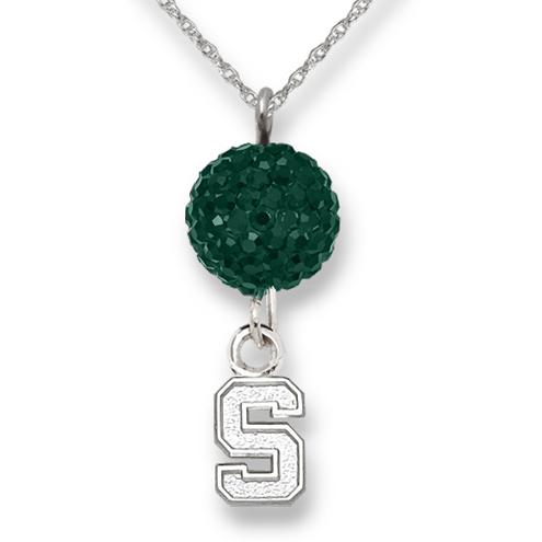Sterling Silver Michigan State University Crystal Ovation Necklace