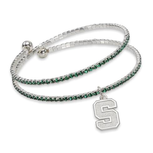 Michigan State University Amped Logo Crystal Bracelet
