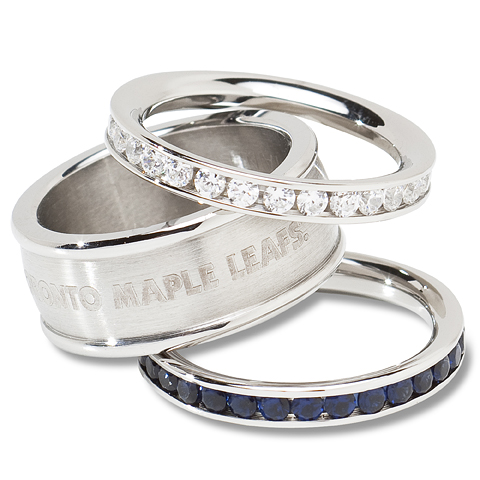 Toronto Maple Leafs Team Logo Crystal Stacked Ring Set