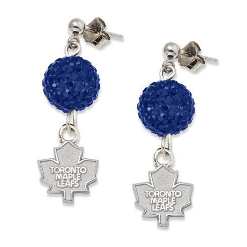 Sterling Silver Toronto Maple Leafs Crystal Ovation Earrings