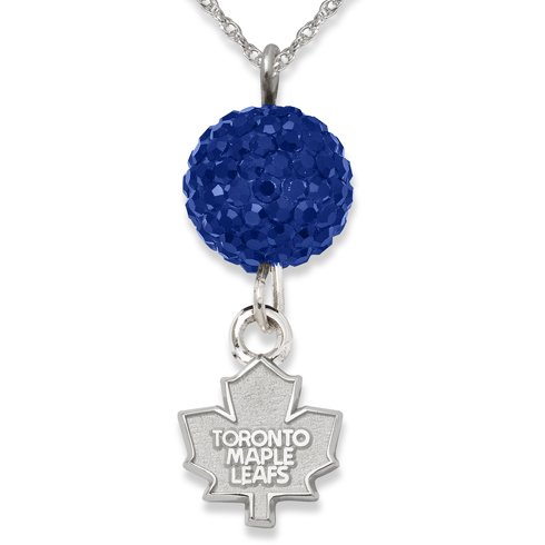 Sterling Silver Toronto Maple Leafs Crystal Ovation Necklace