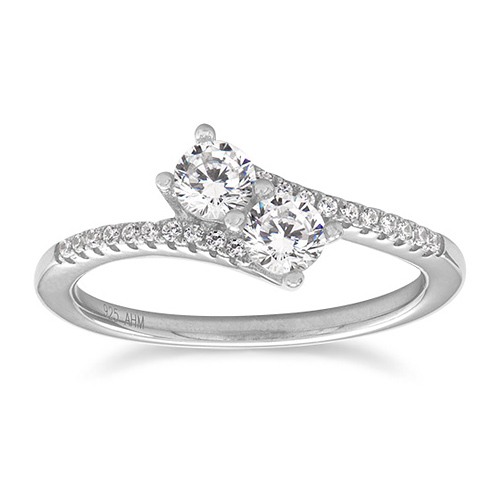 Sterling Silver CZ Two-Stone Ring with Accents