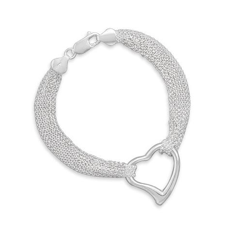Sterling Silver 7 1/2in Strand Open Heart Bracelet