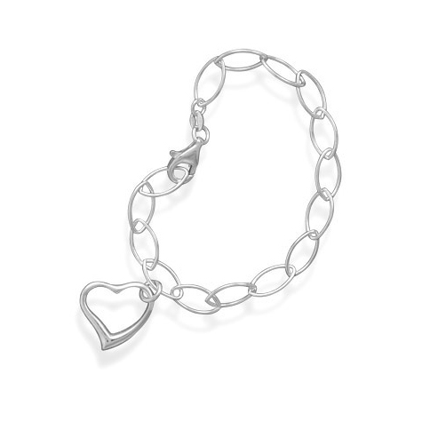 Sterling Silver 7 1/2in Fancy Link Bracelet with Heart Charm