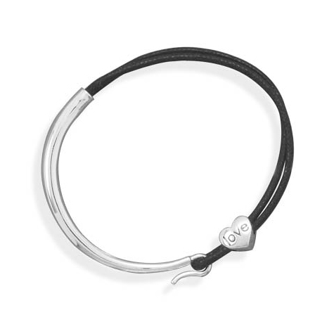 Sterling Silver 7in Black Cord Bracelet with Love Bead
