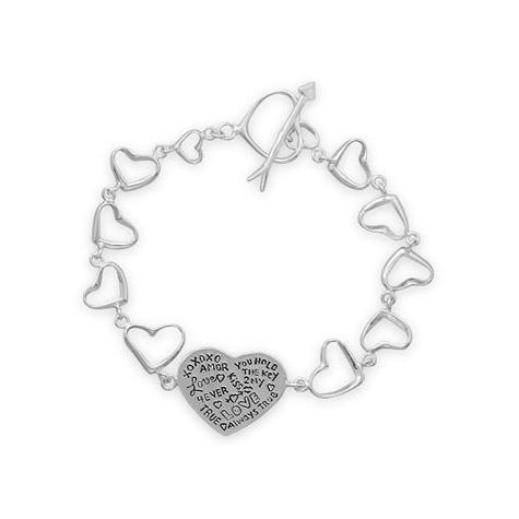 Sterling Silver 7 1/2in Heart Link Message Bracelet