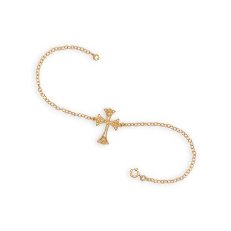 Gold-plated Sterling Silver 7 1/2in Cross Bracelet