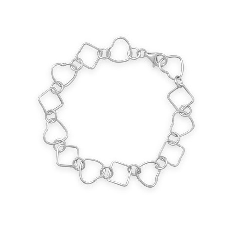 Sterling Silver 7 1/2in Heart and Diamond Link Bracelet