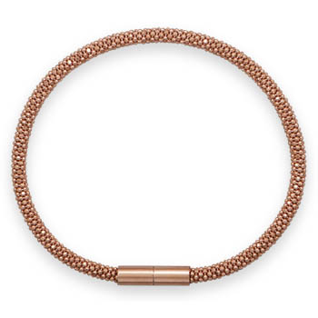7 1/2in Rose Gold-Plated Popcorn Chain Bracelet