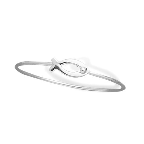 Sterling Silver Ichthys Bangle Bracelet