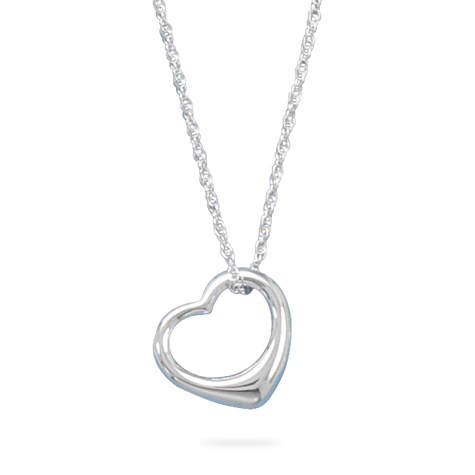 Sterling Silver 18in Floating Heart Necklace