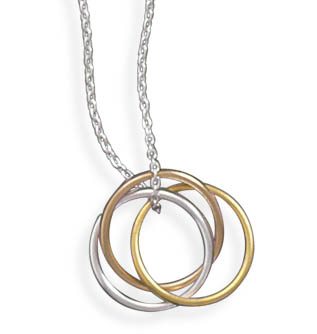 Sterling Silver 16in Three Tone Ring Necklace