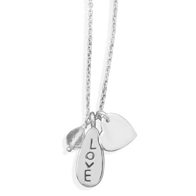 Sterling Silver 18in Love Quartz Bead Necklace