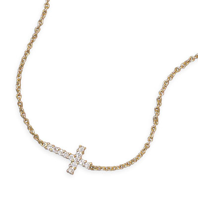 14kt Gold Plated Sterling Silver 1/2in Sideways Cross on 16in Necklace