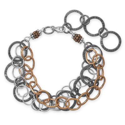 Sterling Silver 7 1/2in Tri Tone Strand Bracelet