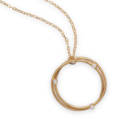 Gold Filled 18in Double Circle Necklace with Cubic Zirconias