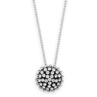 Sterling Silver 16in Oxidized Crystal Dome Necklace