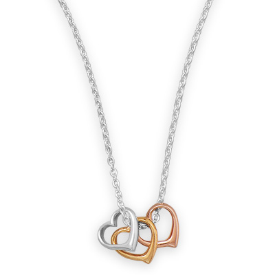 Sterling Silver 16in Three Tone Hearts Necklace