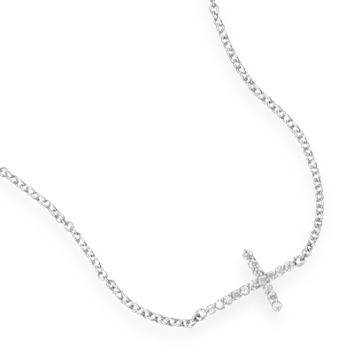 Sterling Silver 18in Cubic Zirconia Cross Necklace