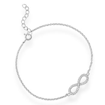 Sterling Silver 7in Cubic Zirconia Infinity Bracelet