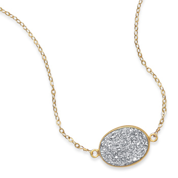 Gold Filled 16in Oval Druzy Necklace