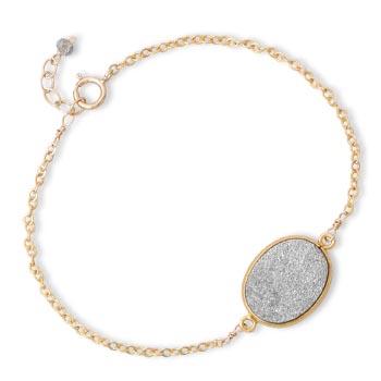 Gold Filled 7 1/2in Oval Druzy Bracelet