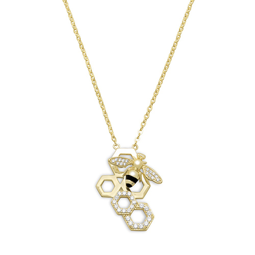 14kt Gold-plated Sterling Silver CZ Queen Bee Necklace