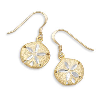 14kt Yellow Gold Plated Sterling Silver Sand Dollar Earrings