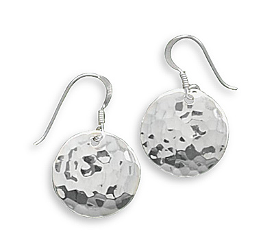 Sterling Silver Round Hammered French Wire Earrings
