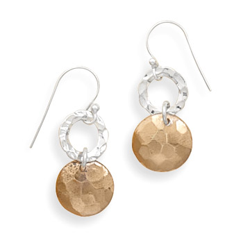Rose Gold-Plated Sterling Silver Hammered French Wire Earrings