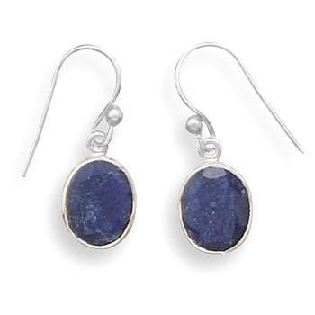 Sterling Silver Oval Rough-cut Sapphire French Wire Earrings