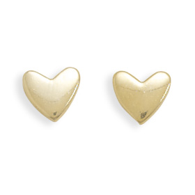 14kt Yellow Gold Plated Sterling Silver Heart Stud Earrings