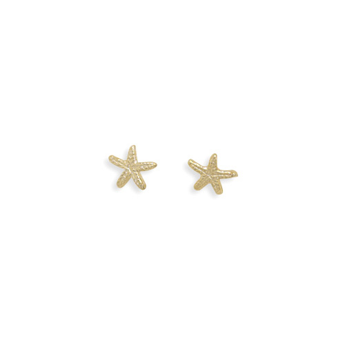 14kt Yellow Gold Plated Sterling Silver Starfish Stud Earrings