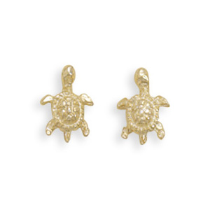 14kt Yellow Gold-Plated Sterling Silver Turtle Stud Earrings