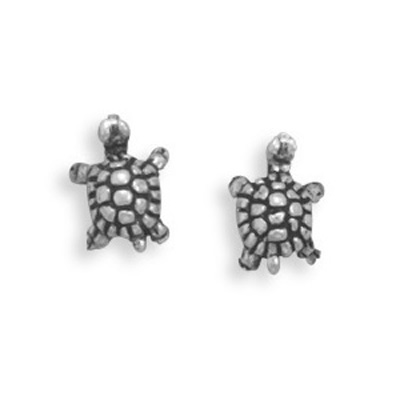 Sterling Silver Oxided Turtle Stud Earrings