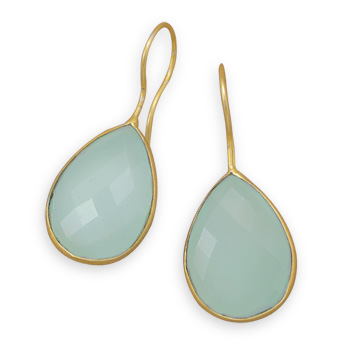 14kt Yellow Gold Plated Sea Green Chalcedony Earrings